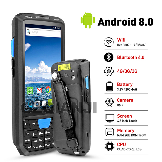 Nieuwe Android 8 Pda Robuuste Handheld Terminal Data Collector Terminal Draadloze 1D 2D Qr Laser Barcode Scanner Reader Terminal 4G