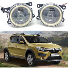 цена на For Renault Sandero Stepway Hatchback 2009-2015 Car styling New Led Fog Lights 30W DRL Angel Eyes Fog Lamp 2pcs