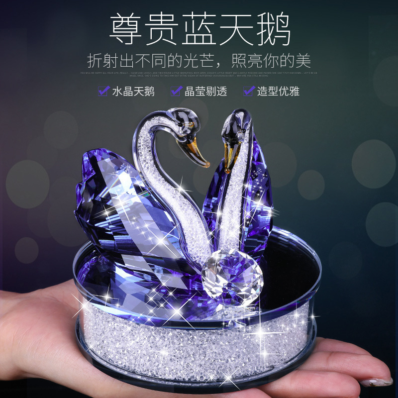 Exquisite Handmade Crystal Swan Crystal Animal Figurines Glass Car Ornament Decor Couple Swan With Base Home Decor Xmas Gift