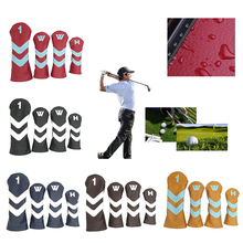 4Pcs PU Golf Head Cover With Plush Lining Club Protector Spo