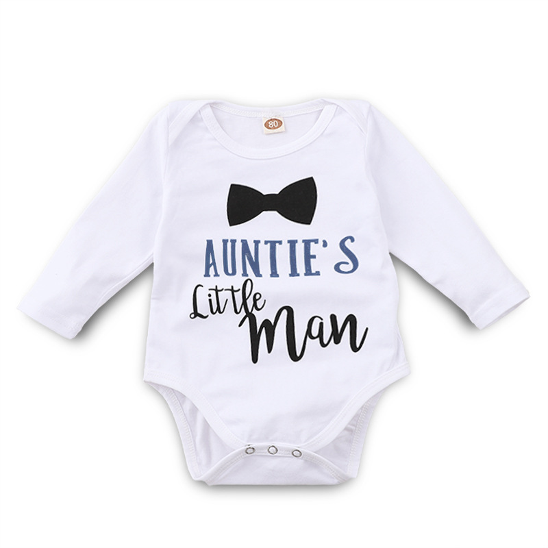 Funny Auntie Little Man Letters White Onesie Tiny Cottons Long Sleeve Bodysuit Infant Clothing 0-18m Newborn Baby Boy Clothes