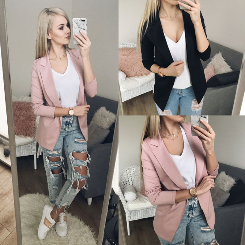 Fashion New Suit Top Jacket Coat Outwear Formal Womens Ladies Slim Long Sleeve Jacket Casual Blazer Women Plus Size