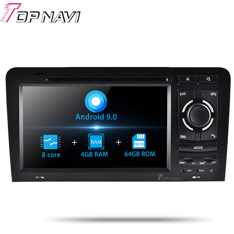 topnavi android 9 0 car pc radio stereo player for audi a3 2003 2004 2005 2006 2007 2008 2009. Black Bedroom Furniture Sets. Home Design Ideas