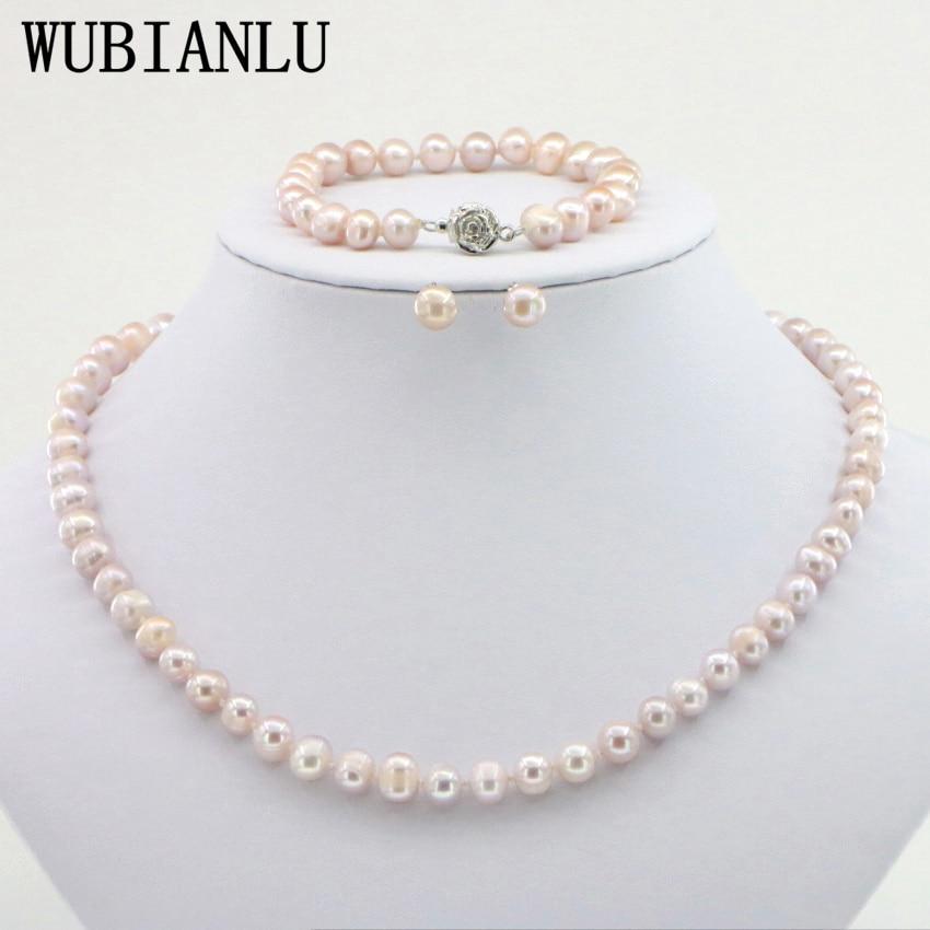 WUBIANLU 4 kleuren 7-8mm Roze Parel Ketting Armband Earring Sets Vrouwen Sieraden Maken Ontwerp Mode Stijl Meisje gift Groothandel