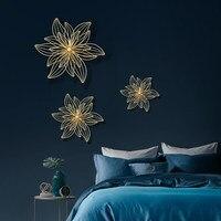 Flores huecas de hierro forjado de lujo para colgar en la pared fondo decorativo para hogar, sofá, TV, Mural en 3D, adorno metálico, decoración artística