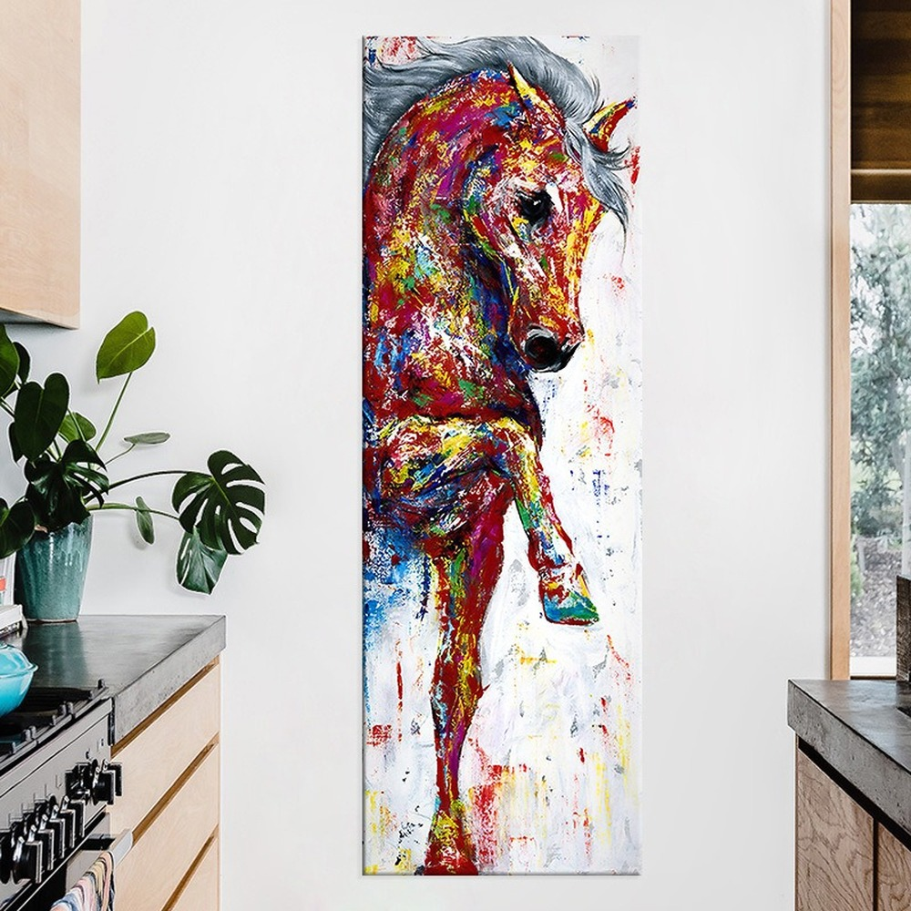 Entrance Hallway Watercolor Horse Hanging Painting Modern Minimalist Animal Print Canvas Painting Home Decor Wall Art Pictures