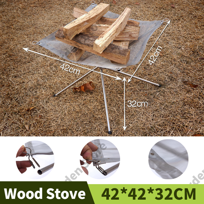 Fire Pit Portable Fire Pit BBQ Outdoor Fire Barbecue Wood Stove Brazier Camp Fire Grill Point Charcoal Stove Camping Fire Rack