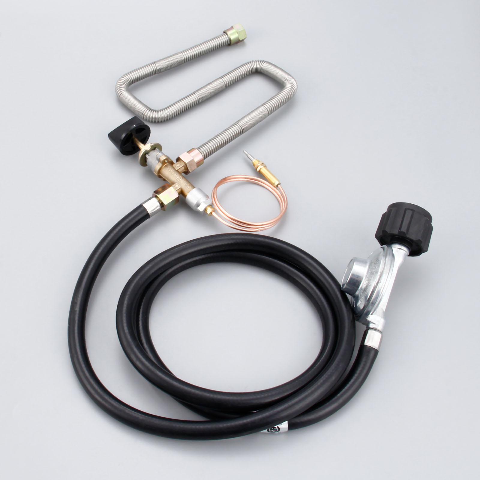 Propane Fire Pit Control Valve System Kit Fireplace Parts Gas Regulator Valve With Hose 600mm Universal M8 Thermocouple