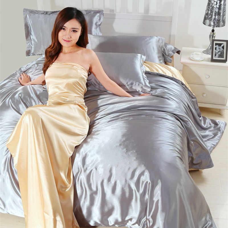 4 sztuk Satin jedwabny zestaw pościeli luksusowe królowa duży rozmiar łóżko-zestaw kołdra kołdra pokrywa pościel i poszewka na poduszkę do pojedynczego podwójna pościel