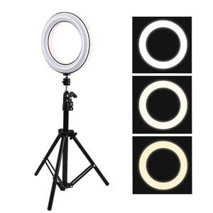 Image 4 - 調光可能な 26 センチメートルピンクled selfieリングライトと 210 センチメートル三脚スタンドリングランプ電話ホルダーのための写真ビデオクリップNE004