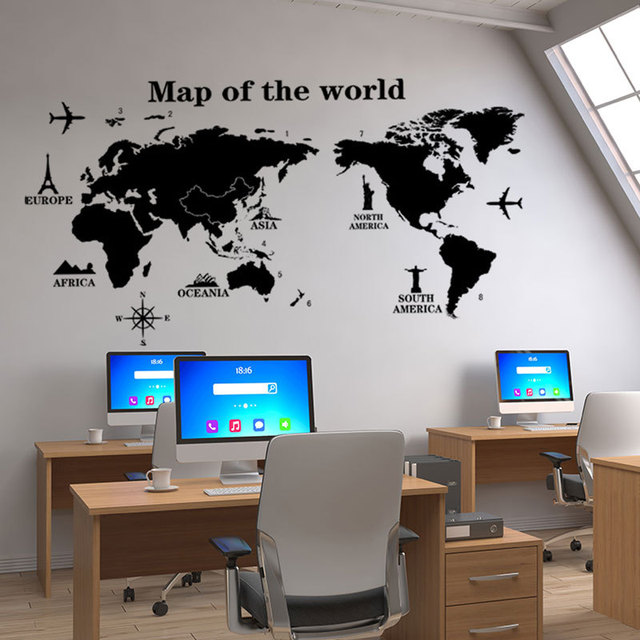 Map of The World Wall Stickers DIY Vinyl Wall Decals for Kids Room Maps Wallpapers Home Decor Black World Maps Home Decoration 2