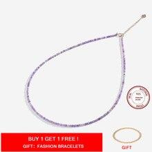 Pedra natural colar spinel/lapis lazul/amazonita/amethy/turmalina/ametista ketting 2mm prata 925 jóias para collier femme