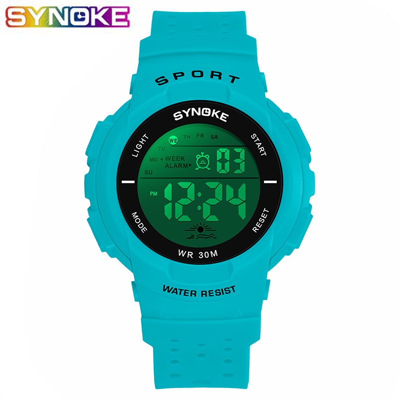 SYNOKE New Fashion Sports Kids Digital Watches LED Luminous Multi-function Electronic Watches Boys Girls Students Children Clock
