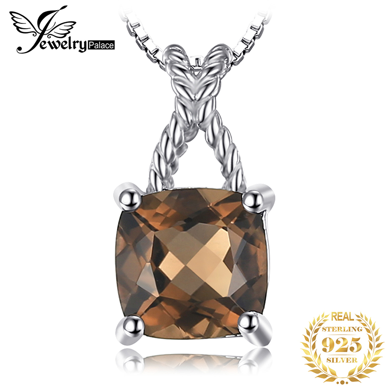 JPalace Square Natural Smoky Quartz Pendant Necklace 925 Sterling Silver Gemstone Choker Statement Necklace Women Without Chain