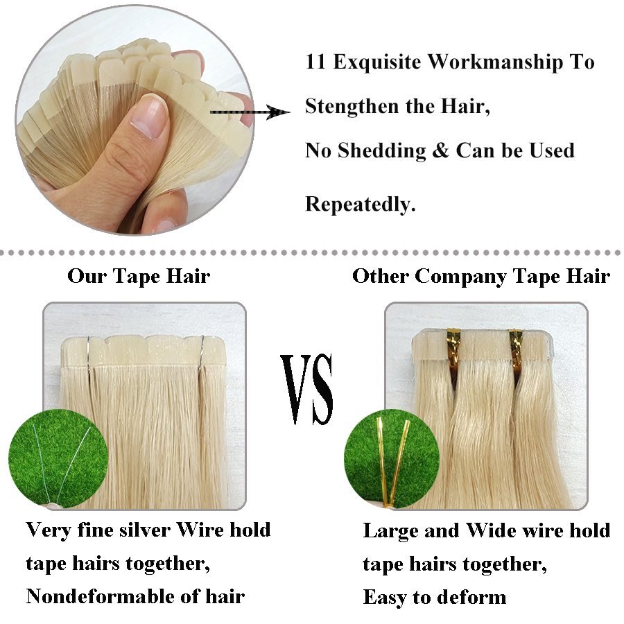 ShowCoco Mini Tape in Human Hair Extensions Virgin Natural 2-3Years Double Sided Real Hair Skin Weft Balayage Tape on Hair