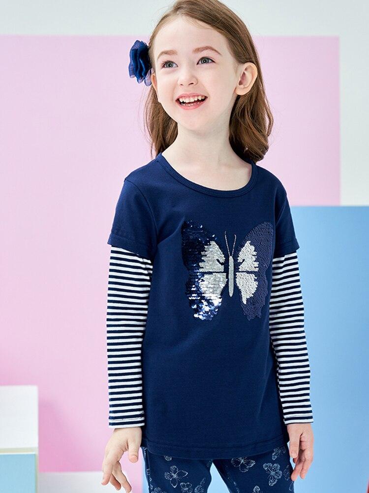 DXTON Girls Cotton Crewneck Solid Tops Long Sleeve T-Shirt
