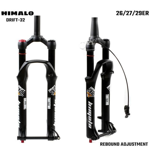 Horquilla de suspensión para bicicleta de montaña, bloqueo de horquilla de 26, 27,5 y 29 pulgadas, eje pasante cónico recto, ajuste de rebote de liberación rápida QR