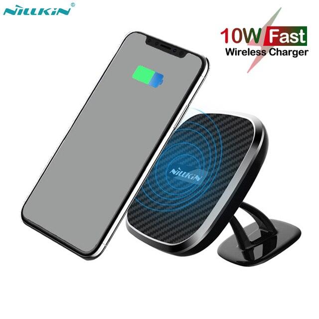 Nillkin cargador inalámbrico magnético para coche, Cargador rápido Qi de 10W para iPhone 11 Pro X XR XS Max, Samsung Note 8 9 10 S9 S10 S20 Plus
