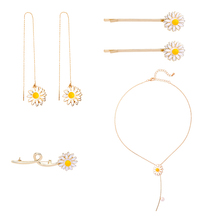 Korean Fashion Yellow Enamel Daisy Flower  Pendants Necklaces Gold Color Acrylic Pearls Personality Girl Jewelry