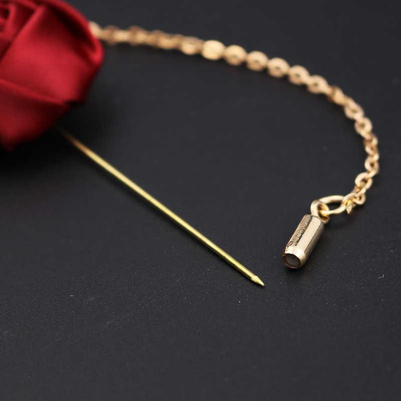 Fashion Pria Sesuai dengan Daun Emas Mawar Bros Korsase Kerah Bunga Panjang Jarum dengan Rantai Buatan Tangan Lapel Pin Bros