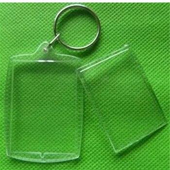 1 Uds., 32x46mm, marco de fotos en blanco transparente, llavero con anillo dividido, llavero, regalo, marco familiar DIY para el hogar