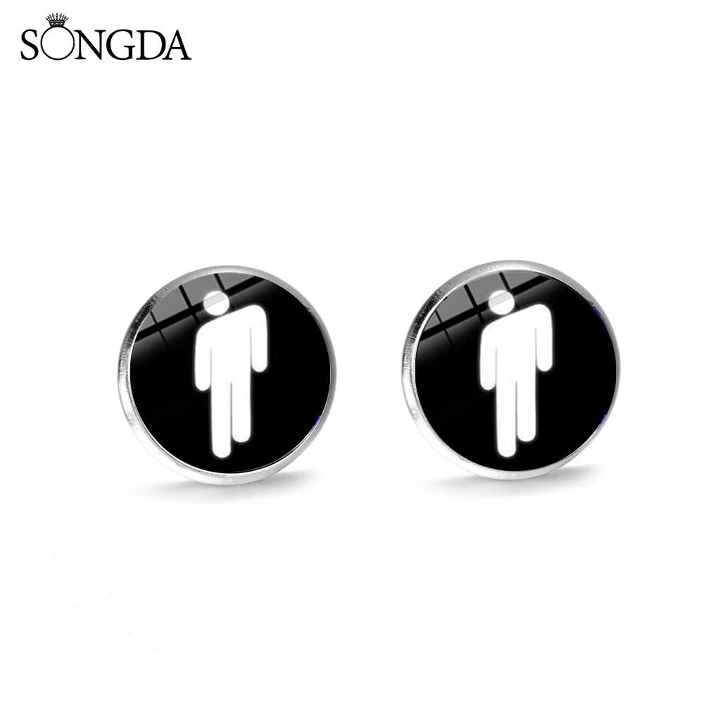 SONGDA Newest Printed Singer Billie Eilish LOGO Ear Stud Hip Hop Young Singer Icon Glass Round Stud Earrings for Men Women Fans