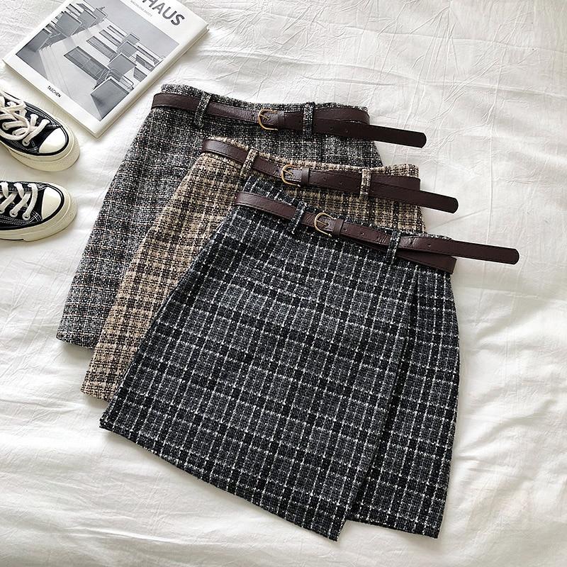Korean Irregular Lady Skirt Female Autumn Sweet High Waist A-line Mini Skirt Vintage Casual Women Plaid Skirt Chic Sashes