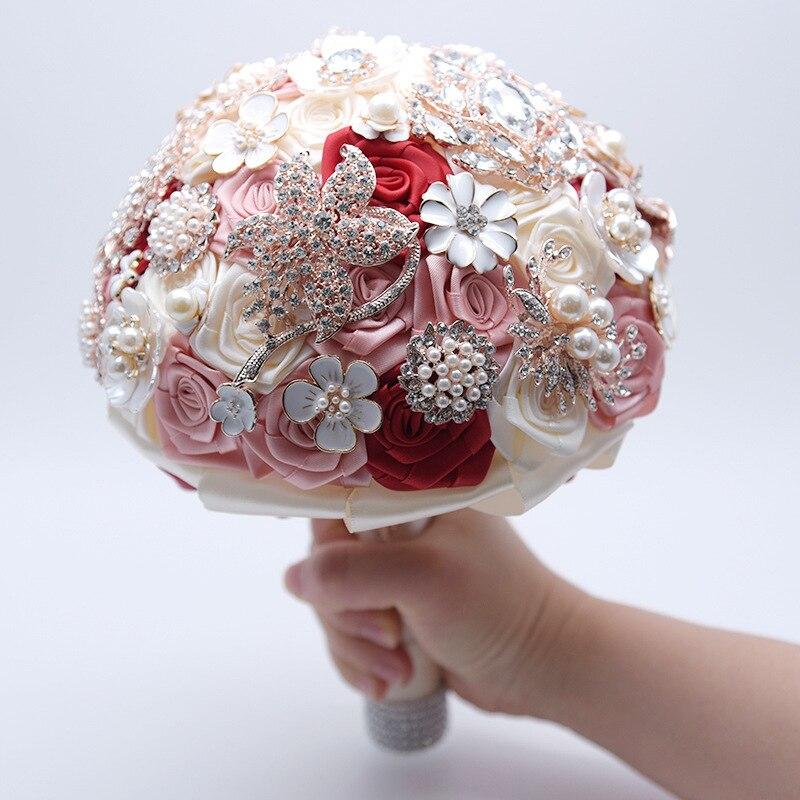 Magnifique café fleurs de mariage Bouquets de mariée Peals cristal strass Rose Bouquet de mariage artificiel étincelle fleur à la main