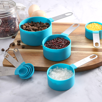 Home kitchen Plastic Measuring Spoon And Cup Set With Stainless Steel Handle image