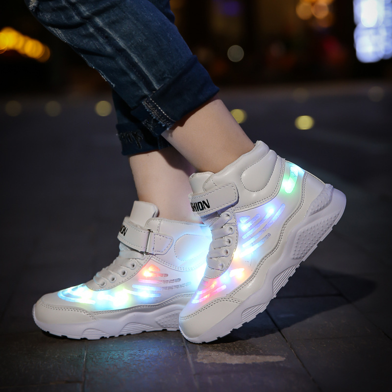 Children's Luminous Shoes LED Upper Bright Sneakers For Boys Girls Gorgeous Light Up USB Charging Noctilucent Shoes Lamp D02201