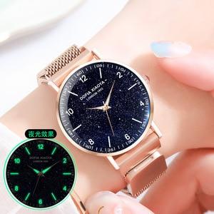 Image 3 - Women Watch Magnetic Rose Gold Starry Sky Watch Luminous 2019 Ladies Stainless Steel Wrist Watch For Waterproof relogio feminino