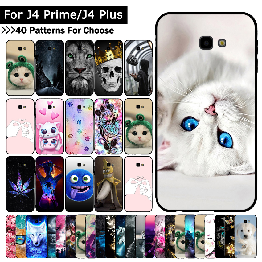 Case For Samsung Galaxy J4 + J415/J4 Prime/J4 Plus Animal Cat Cover For Samsung J4+ J4Plus J4Prime Patterned TPU Silicone Cases