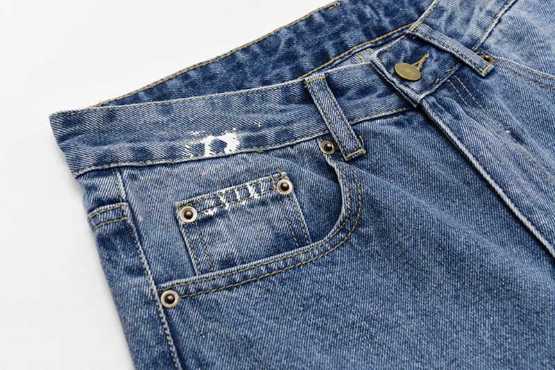 Женские джинсы EAM, синие, белые, с высокой талией, свободные, весенне-осенние, 2020