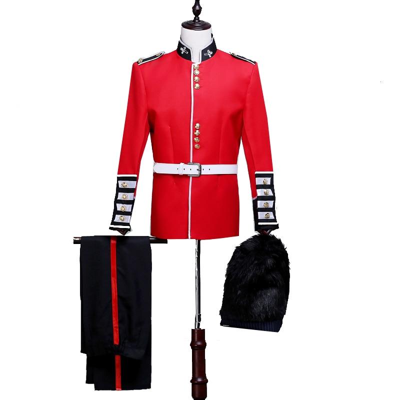 (Jacket+Pant+Hat) Men Red Suit Set Army Uniform Event Performance Opening Ceremony Graduation Costume Coat Royal Guard Blazer