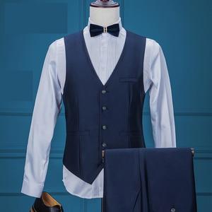 Image 2 - Costume daffaires formel pour hommes, veste + gilet + pantalon, 3 pièces, bleu marine, Tuxedos, châle pour marié, collection 2020