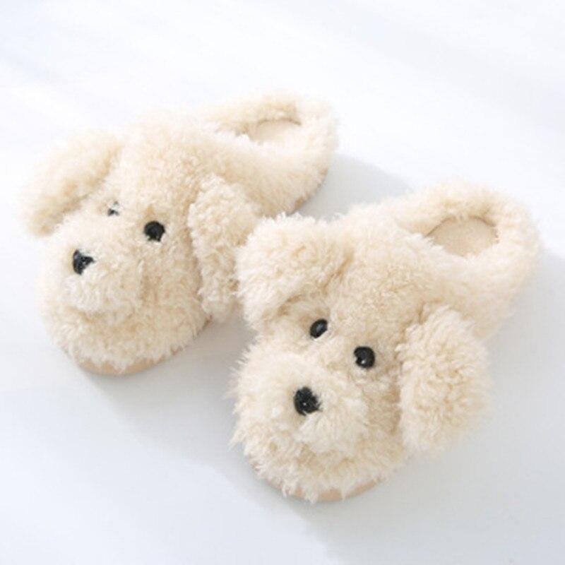 2019 New Autumn Winter Women Slippers cute cartoon puppy teddy wool cotton Home Soft anti-slip Fur Indoor Floor women Men Shoes 5