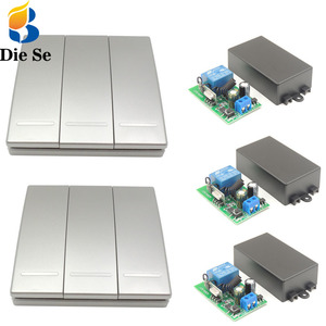 Control remoto inalámbrico 3 gang AC 85V ~ 250V 2200W 433mhz relé reciever controlador para luz/lámpara/bombilla/LED interruptor Panel de pared