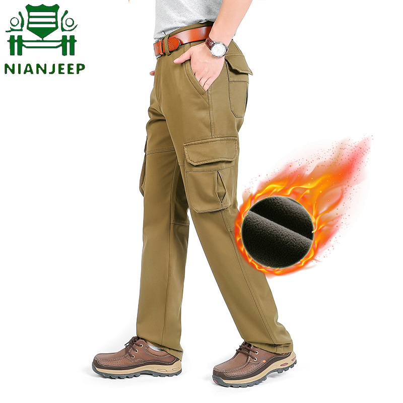 Men's Cargo Pants Winter Warm Casual Mens Pant Plus Velvet Multi-pocket Military Outdoors Long Tactical Trousers Pantalon Hombre