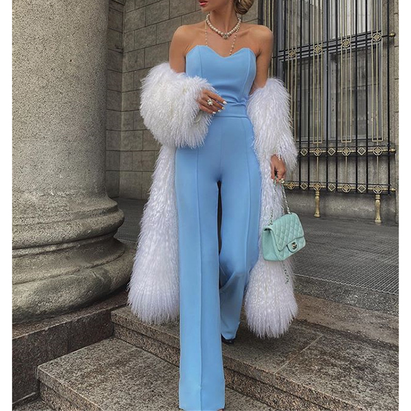Strapless Long Jumpsuit For Women 2020 Summer Solid Color Wide Leg Pants Rompers Womens Jumpsuit Sexy Off Shoulder Outfits