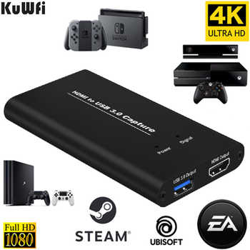 KuWFi USB3.0 HDMI 4K60Hz Captura de video HDMI a USB Tarjeta de captura de video Dongle Game Streaming Transmisión en vivo Transmisión con MICinput