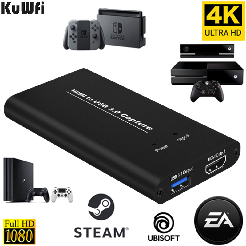 KuWFi USB 3.0 HDMI 4K60Hz Captura de vídeo HDMI para USB Card Captura de vídeo Dongle Card Game Transmissão ao vivo com entrada MIC
