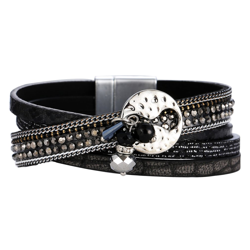 GS059 Women Stylish Bracelets Multilayers Silver Beads Leather Bracelets Fashion Charm Wrap Cuff Bracelet For Girls