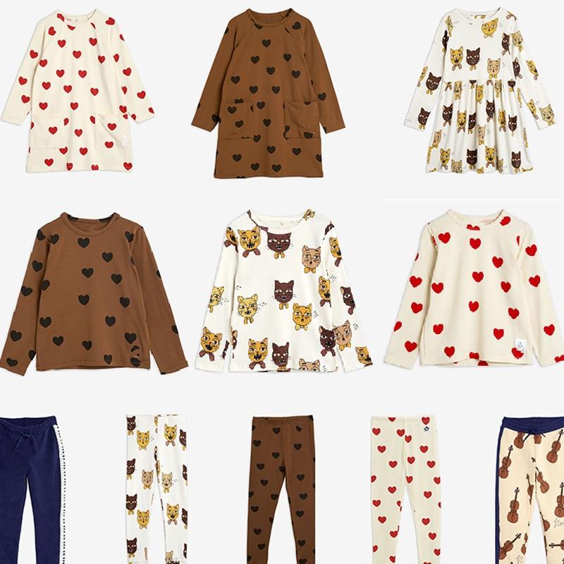MINI Brand Kids T-shirts 2021 New Autumn Girls Heart Pattern Dress Fall Long Sleeve Cotton Fashion Baby Girl Boys Casual Dresses 1