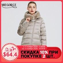 Miegofce 2020 coleção feminina inverno quente casaco casaco de inverno à prova de vento gola com capuz e pele de coelho parka