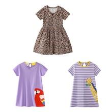 2020 Summer Girls' Dress Leopard Print Pattern Cute Dress 2-7y Children's Summer Cotton Princess Dress Purple Striped Dress girls rainbow print striped dress