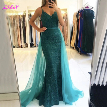Lace Beaded Mermaid Evening Dresses 2020 Sexy V-Neck Long Tulle Prom Dress Elegant Overskirt Formal Party Gowns Vestido De Festa gorgeous coral mermaid prom 2019 new v neck luxury crystal tulle beaded backless sequin long formal gowns bridesmaid dresses