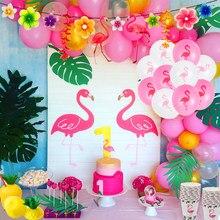 WEIGAO – ballons thème flamant rose, décor de fête en aluminium, ananas, Luau Tropical, Aloha, bannière en papier, décor de fête hawaïenne d'été