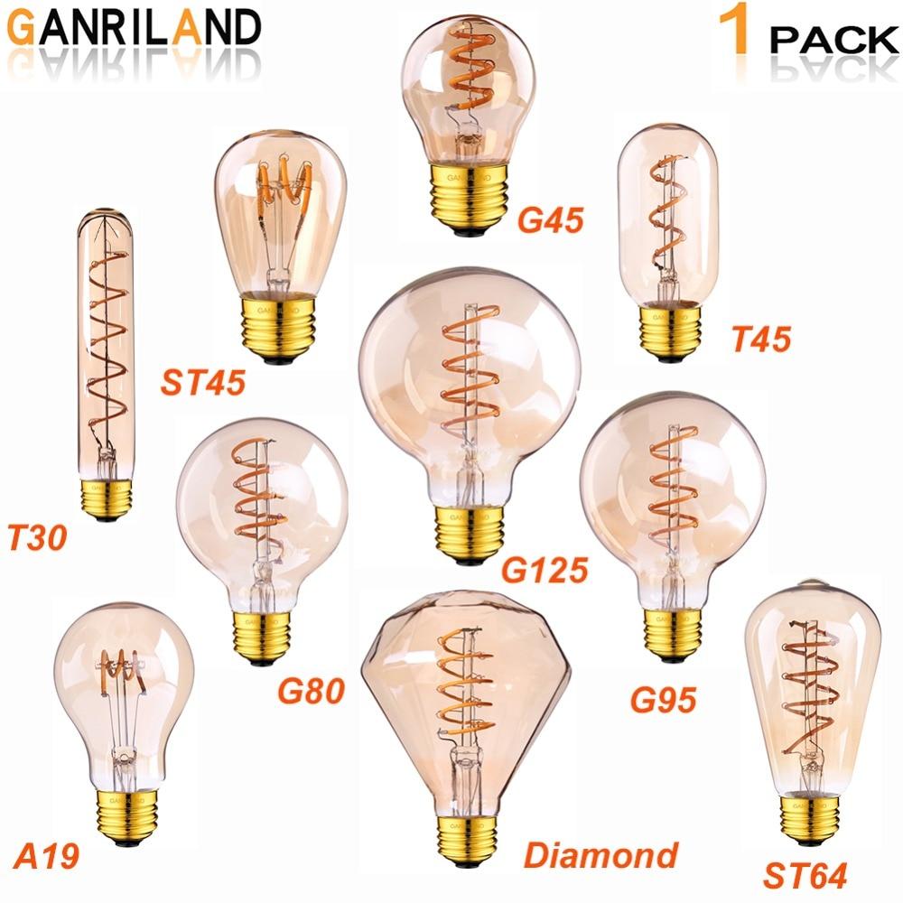 Ganriland Ретро светодиодный светильник E27 220V с регулируемой яркостью Светодиодная лампа накаливания свет 3 W 2200 K масок Diamond Gold Edison спиральные ла...