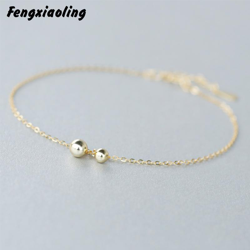 100% Authentic 925 Sterling Silver Round Beads Anklets For Woman's Fashion 2018 Summer Jewelry Ankle Foot Chain