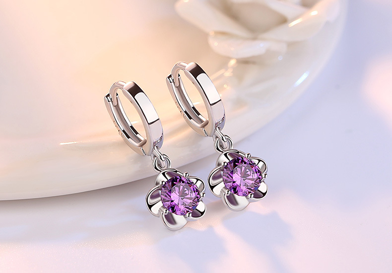 Hbf4f9c7579004fccba09cdfc895611a3Y - 100% 925 sterling silver shiny crystal plum flower Drop earrings female jewelry women gift wholesale drop shipping